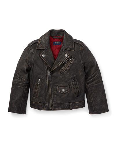 Leather Biker Jacket, Size 2-4