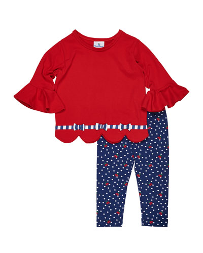 Solid Scallop-Hem Top w/ Ladybug-Print Leggings, Size 2-6X