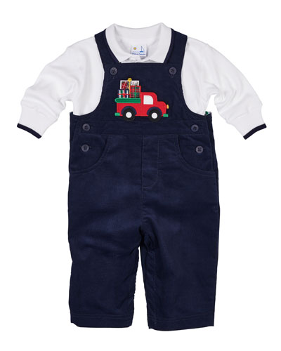 Pocket Full of Presents Overalls w/ Long-Sleeve Polo Top, Size 6-24 Months