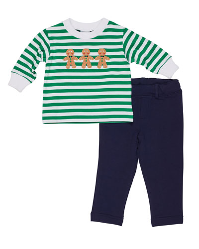Striped Gingerbread Man Top w/ French Terry Pants, Size 3-24 Months