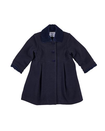 48a70ebefdd9 Wool-Blend Velvet-Trim Coat Size 2-6X