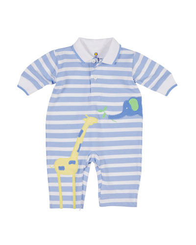 Elephant & Giraffe Striped Polo Coverall, Size 3-12 Months
