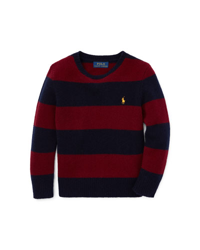 Wool-Cashmere Striped Sweater, Size 2-4