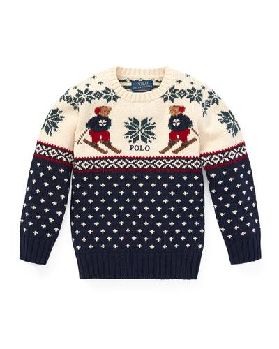 Fair Isle Bear Intarsia Sweater, Size 5-7