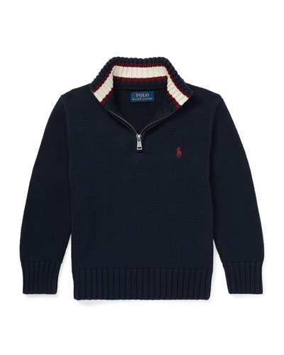Combed Cotton Half-Zip Pullover Sweater, Size 5-7