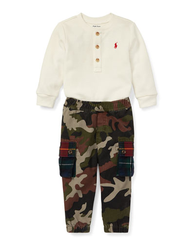 Waffle-Knit Henley Top w/ Camo Cargo Pants, Size 6-24 Months