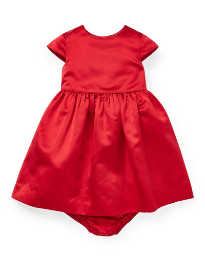 Short-Sleeve Satin Dress w/ Bloomers, Size 6-24 Months
