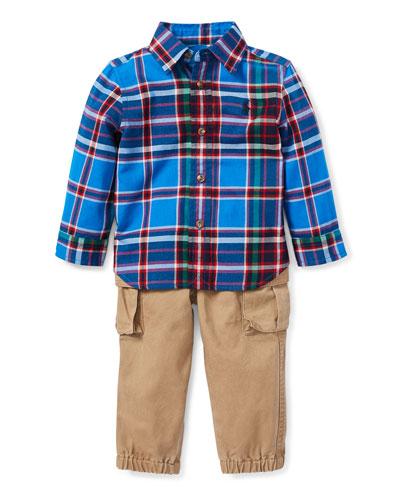 Collar Plaid Shirt w/ Twill Pants, Size 6-24 Months