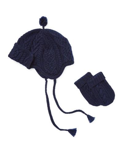 Merino Wool Trapper Hat w/ Matching Mittens, Size 3-24 Months