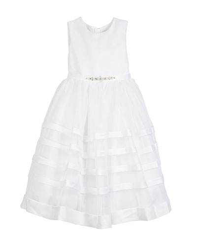Solid Satin Dress w/ Tulle Striped Skirt, Size 5-14