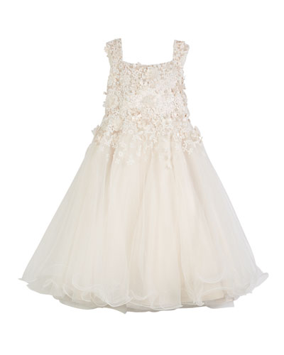 3D Floral Cutout Lace & Tulle Dress, Size 4-14