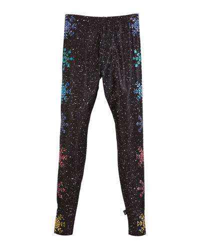 Glitter Snowflake Leggings, Size 7-16