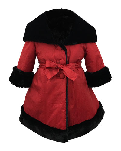 Faux-Fur Reversible Hooded Coat  Size 12-18 Months