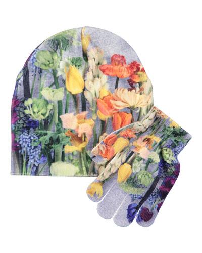 Kaya Floral-Print Hat & Gloves Set