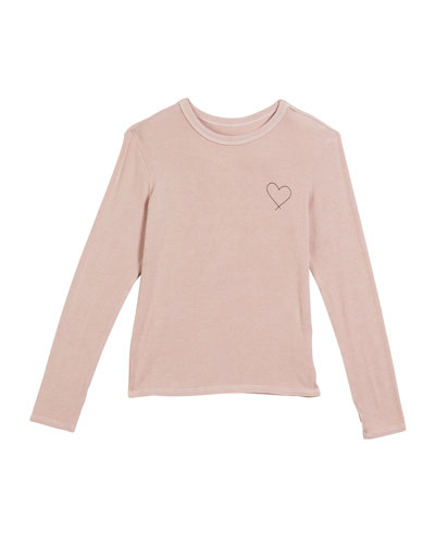 Rib-Knit Long-Sleeve Heart Tee  Size 6-14