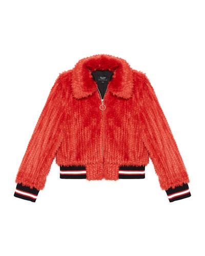 Queenie Faux-Fur Bomber Jacket, Size 8-16