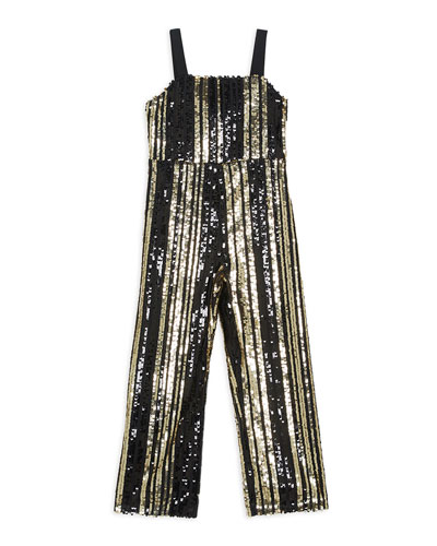 Illy Striped Sequin Jumpsuit, Size 8-16