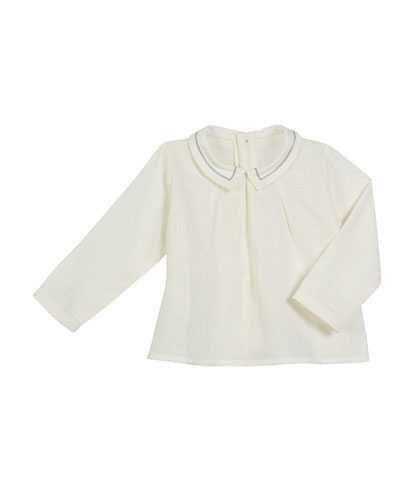 Long-Sleeve Contrast-Stitch Top  Size 6M-3
