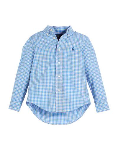 Poplin Plaid Button-Down Shirt, Size 2-4