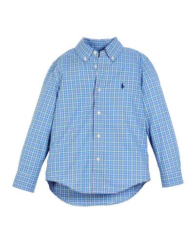 Poplin Plaid Button-Down Shirt, Size 5-7