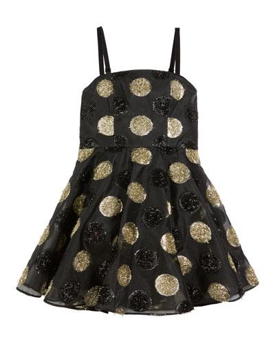 Textured Polka-Dot Spaghetti-Strap Dress, Size 8-16