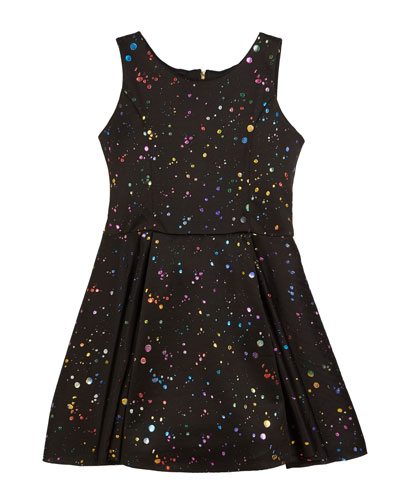Foil Splatter Knit Swing Dress, Size 7-16