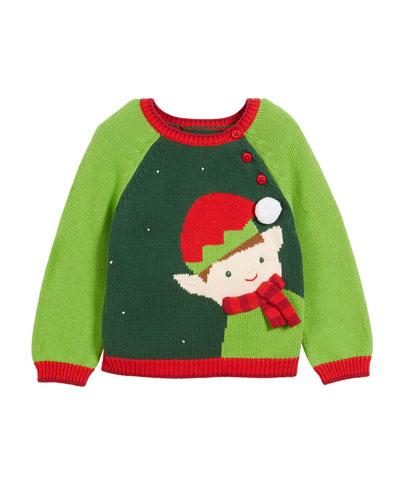 Kids' Colorblock Elf Intarsia Christmas Sweater  Size 12M-7