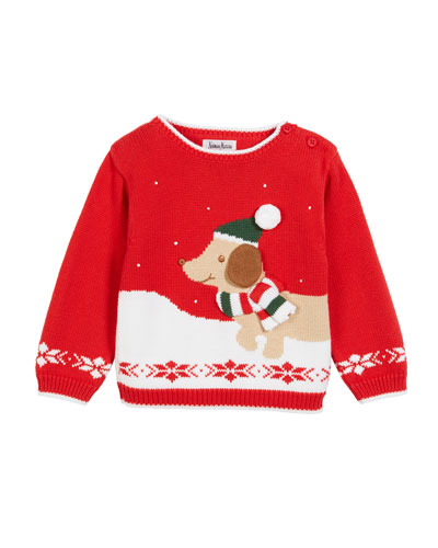 Kids' Christmas Dog & Snow Sweater, Size 2T-7