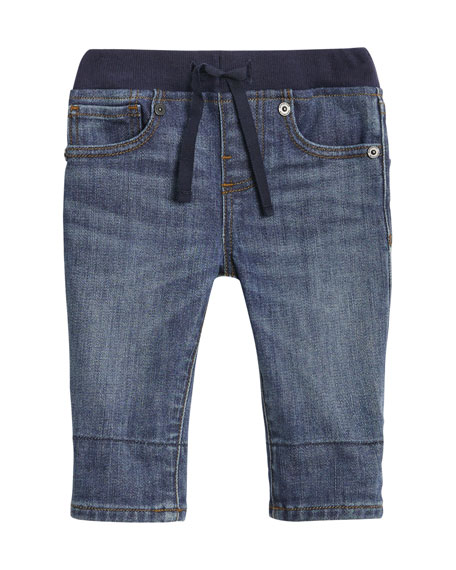 Burberry Pull-On Drawstring Jeans, Size 6M-2Y