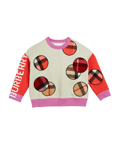 Burberry Colorblock Sweatshirt w/ Scarf Patches, Size 3-14