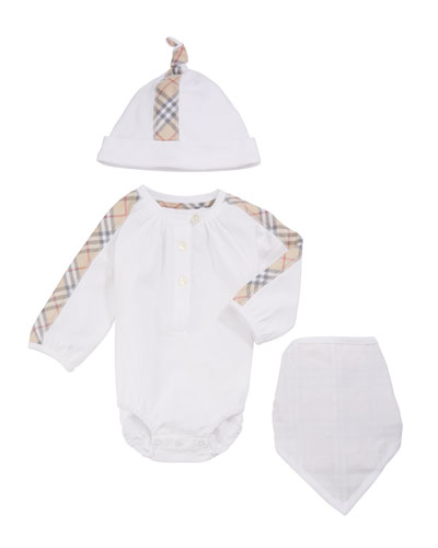 Berta Check-Trim 3-Piece Layette Set  Size 1-18 Months