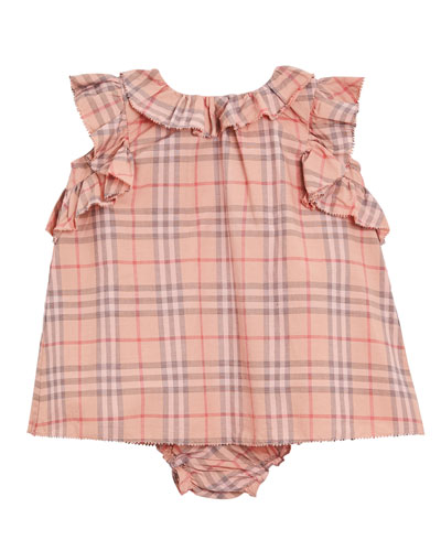 Carla Ruffle-Trim Check Dress w/ Bloomers, Size 3-18 Months