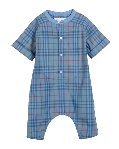 Burberry Colton Tinted Check Shortall, Size 1-18 Months