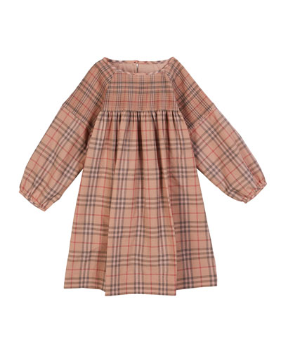 Loralie Long-Sleeve Dyed Check Dress, Size 3-14