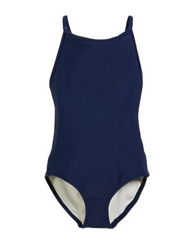 Sandine Check-Trim One-Piece Swimsuit, Size 3-14
