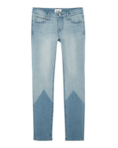 Laser Two-Tone Skinny Jeans, Size 7-16