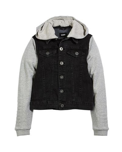Emerson Denim Jacket w/ Contrast Sleeves, Size S-XL