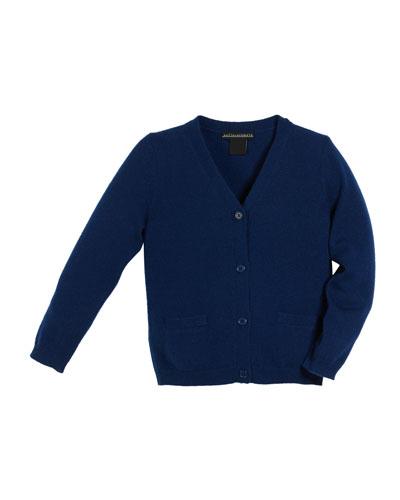 V-Neck Jersey Cashmere Cardigan, Size 2-6