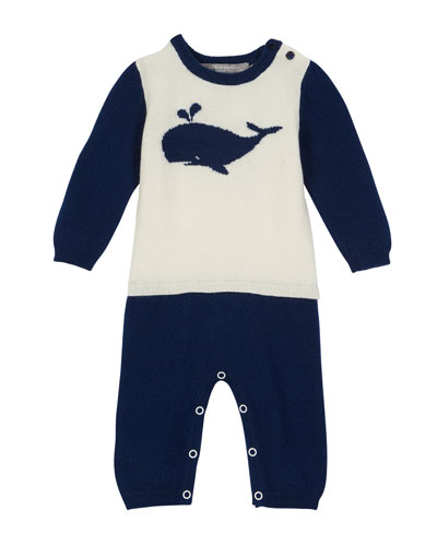 Two-Tone Mock Outfit Whale Coverall  Size 3-12 Months