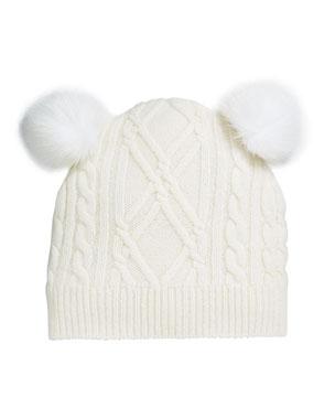 Sofia Cashmere Argyle   Cable-Knit Cashmere Baby Hat w  Fur Pompoms 4f310f28cf75