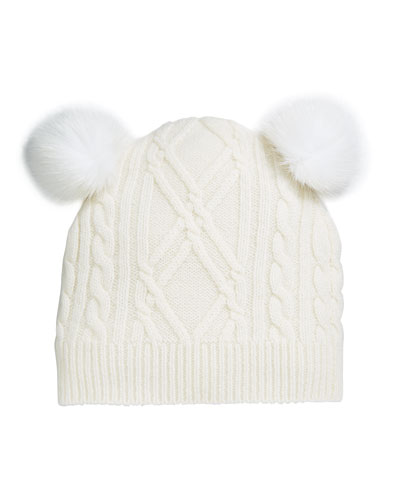 Argyle & Cable-Knit Cashmere Baby Hat w/ Fur Pompoms