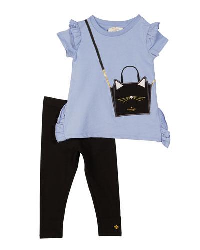 ruffle-trim trompe l'Oeil tee w/ solid leggings, size 2-6x