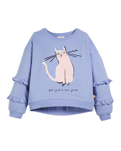 cartoon cat glasses sweatshirt, size 7-14