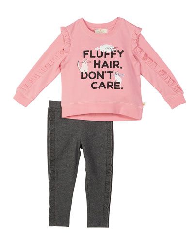 fluffy hair cat sweatshirt w/ leggings, size 2-6x