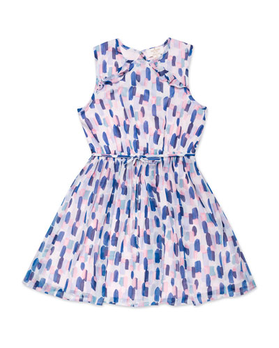 ruffle-trim brush stroke-print sleeveless dress, size 7-14