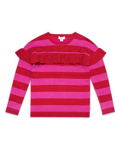 ruffle-trim metallic stripe knit sweater, size 7-14