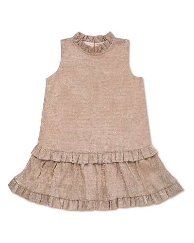 textured metallic ruffle-trim dress, size 2-6x