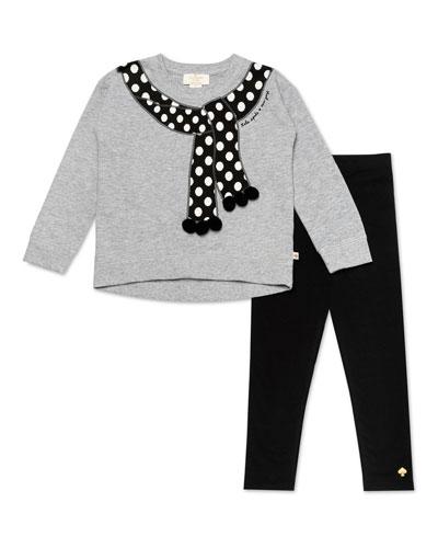trompe l'oeil polka-dot scarf sweater w/ solid leggings, size 2-6x