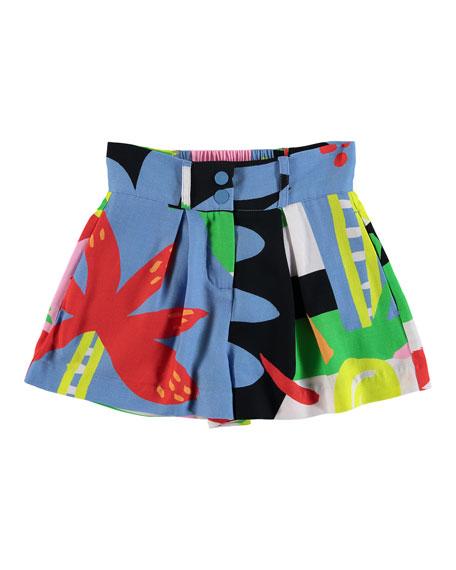Stella McCartney Kids Abstract Palm-Print Wide-Leg Shorts, Size