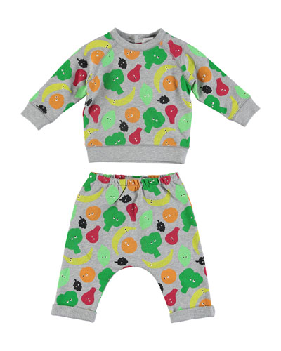 Fruit & Vegetable Print Sweatshirt w/ Matching Sweatpants, Size 6-36 Months